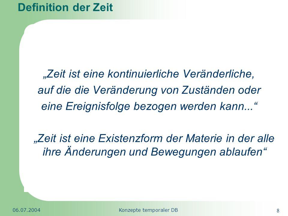 Republic of South Africa 06.07.2004Konzepte temporaler DB 39 Datenmodifikation (INSERT) Bsp.: Der deutsche Staatsbürger Meier reist 1994 in die Schweiz ein und bekommt den Status eines Jahresaufenthalters, er erhält damit eine Aufenthaltsgenehmigung von jeweils nur einem Jahr.