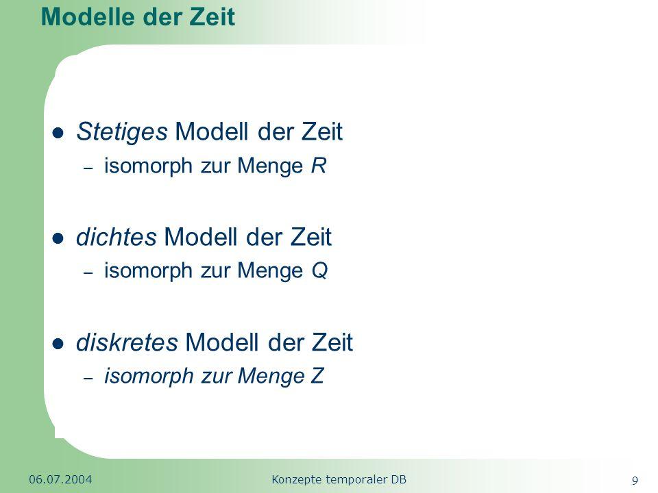 Republic of South Africa 06.07.2004Konzepte temporaler DB 9 Modelle der Zeit Stetiges Modell der Zeit – isomorph zur Menge R dichtes Modell der Zeit –