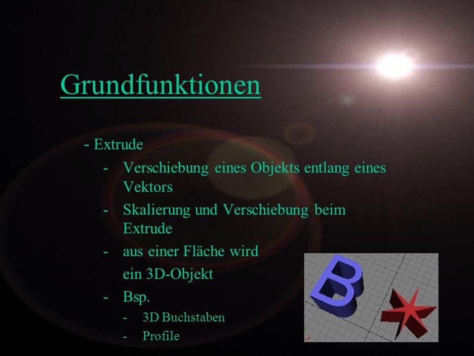 Grundfunktionen - Extrude -Verschiebung eines Objekts entlang eines Vektors -Skalierung und Verschiebung beim Extrude -aus einer Fläche wird ein 3D-Ob