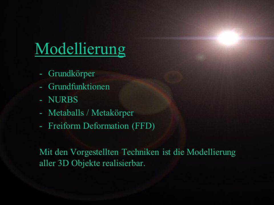 Modellierung -Grundkörper -Grundfunktionen -NURBS -Metaballs / Metakörper -Freiform Deformation (FFD) Mit den Vorgestellten Techniken ist die Modellie