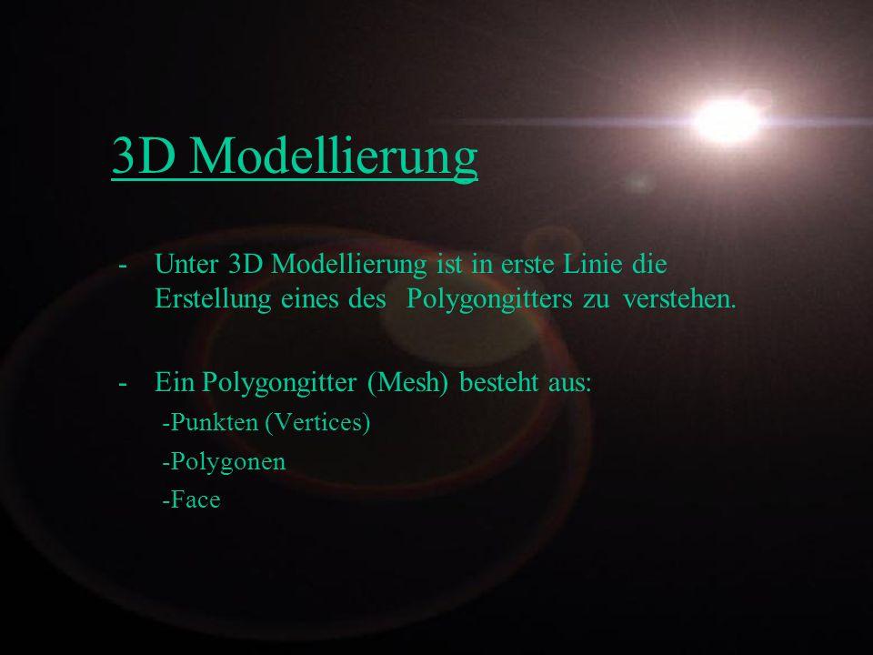 3D Modellierung - Unter 3D Modellierung ist in erste Linie die Erstellung eines des Polygongitters zu verstehen. - Ein Polygongitter (Mesh) besteht au