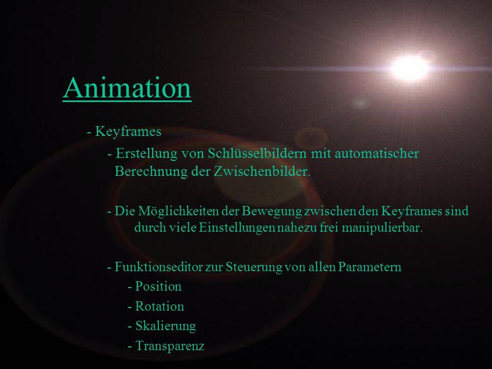 Animation - Keyframes - Erstellung von Schlüsselbildern mit automatischer Berechnung der Zwischenbilder. - Die Möglichkeiten der Bewegung zwischen den