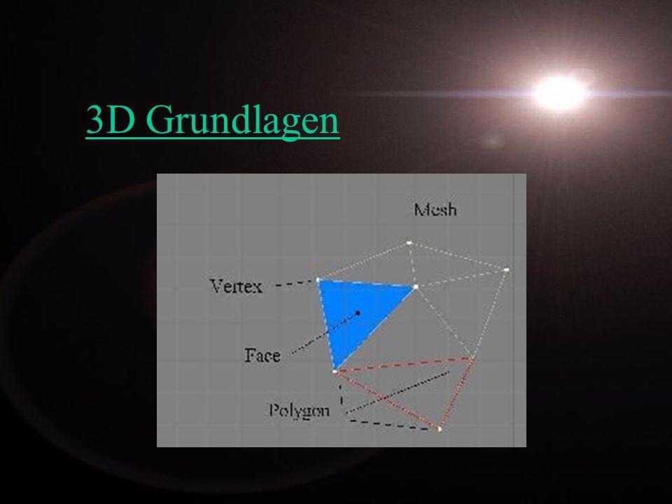 Rendern - Raytracing - Neuaufbau der Normalvektoren - Verfolgung des Lichts (Ray Tracer = Strahlen Verfolger) - Schatten - Alle Funktionen der Texturen und Oberflächen - Radiosity - Berücksichtigt Licht das von Objekten zurückgeworfen wird.