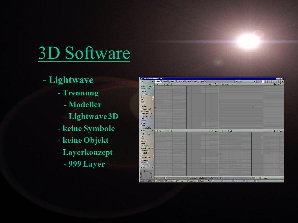3D Software - Lightwave - Trennung - Modeller - Lightwave 3D - keine Symbole - keine Objekt - Layerkonzept - 999 Layer