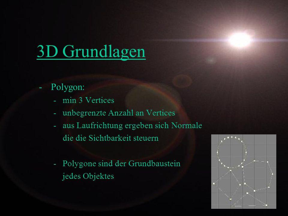 Modellierung -Grundkörper -Grundfunktionen -NURBS -Metaballs / Metakörper -Freiform Deformation (FFD) Mit den Vorgestellten Techniken ist die Modellierung aller 3D Objekte realisierbar.