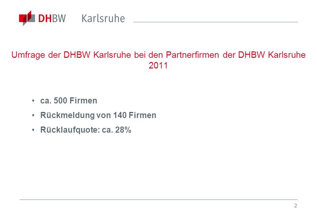 2 Umfrage der DHBW Karlsruhe bei den Partnerfirmen der DHBW Karlsruhe 2011 ca. 500 Firmen Rückmeldung von 140 Firmen Rücklaufquote: ca. 28%