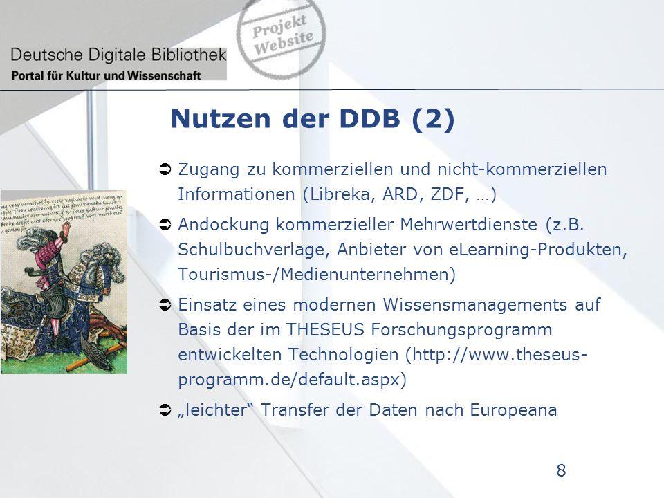 Nutzen der DDB (2) Zugang zu kommerziellen und nicht-kommerziellen Informationen (Libreka, ARD, ZDF, …) Andockung kommerzieller Mehrwertdienste (z.B.
