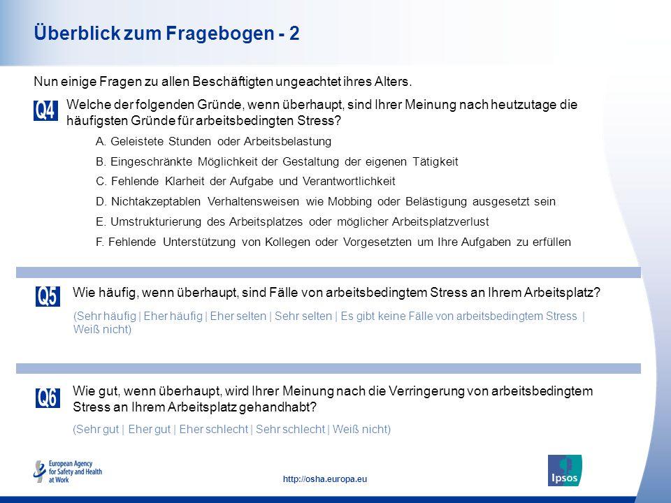 Gesamteuropäische Meinungsumfrage zu Sicherheit und Gesundheitsschutz am Arbeitsplatz Ergebnisse für ganz Europa und Deutschland - Mai 2013 Handhabung von arbeitsbedingtem Stress Sicherheit und Gesundheit bei der Arbeit.