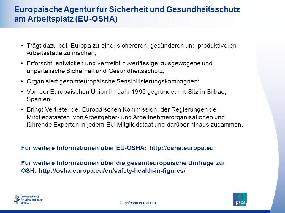 52 http://osha.europa.eu Europäische Agentur für Sicherheit und Gesundheitsschutz am Arbeitsplatz (EU-OSHA) Trägt dazu bei, Europa zu einer sichereren, gesünderen und produktiveren Arbeitsstätte zu machen; Erforscht, entwickelt und vertreibt zuverlässige, ausgewogene und unparteiische Sicherheit und Gesundheitsschutz; Organisiert gesamteuropäische Sensibilisierungskampagnen; Von der Europäischen Union im Jahr 1996 gegründet mit Sitz in Bilbao, Spanien; Bringt Vertreter der Europäischen Kommission, der Regierungen der Mitgliedstaaten, von Arbeitgeber- und Arbeitnehmerorganisationen und führende Experten in jedem EU-Mitgliedstaat und darüber hinaus zusammen.