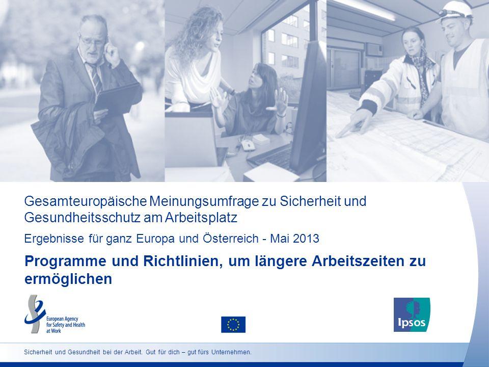 Gesamteuropäische Meinungsumfrage zu Sicherheit und Gesundheitsschutz am Arbeitsplatz Ergebnisse für ganz Europa und Österreich - Mai 2013 Programme u