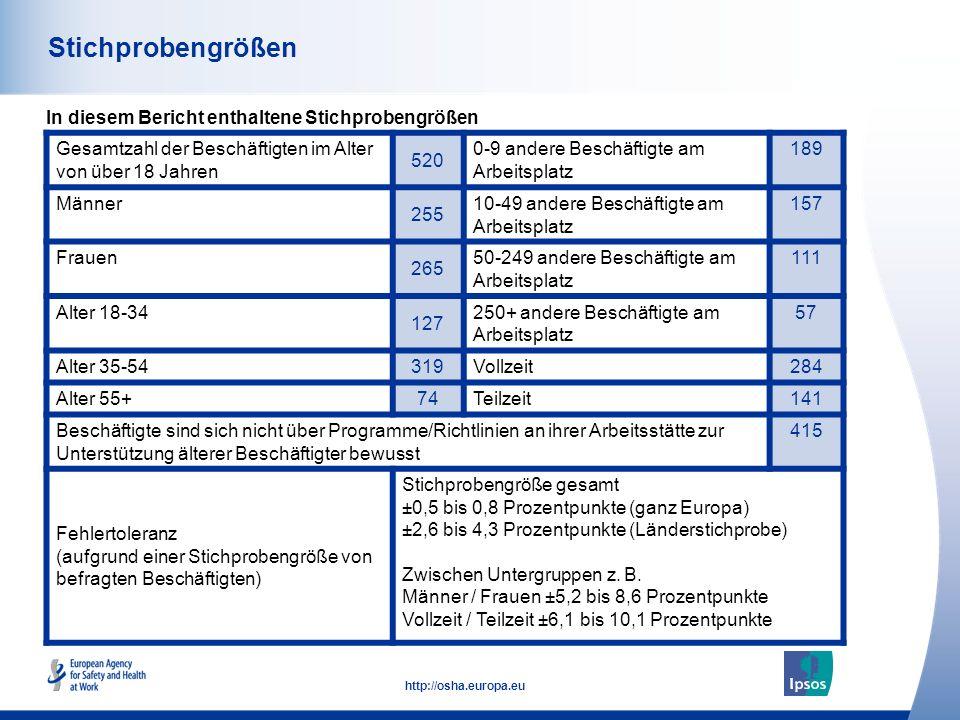 3 http://osha.europa.eu Stichprobengrößen In diesem Bericht enthaltene Stichprobengrößen Gesamtzahl der Beschäftigten im Alter von über 18 Jahren 520