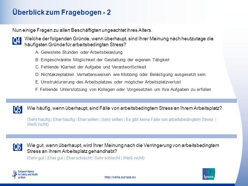 16 http://osha.europa.eu Gesamt Männer Frauen Alter 18-34 Alter 35-54 Alter 55+ Sichtweise von älteren Beschäftigten - Sich Veränderungen am Arbeitsplatz weniger gut anpassen können (Österreich) Im Vergleich, denken Sie ältere Beschäftigte neigen dazu sich Veränderungen an ihrem Arbeitsplatz weniger gut anpassen zu können als andere Beschäftigte.