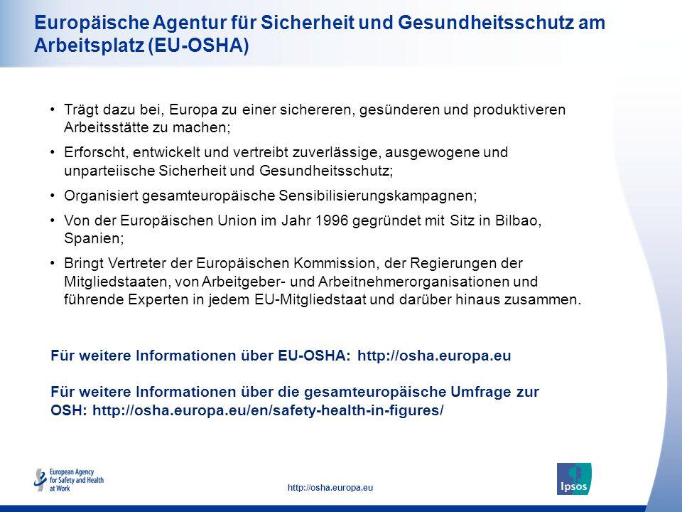 54 http://osha.europa.eu Europäische Agentur für Sicherheit und Gesundheitsschutz am Arbeitsplatz (EU-OSHA) Trägt dazu bei, Europa zu einer sichereren
