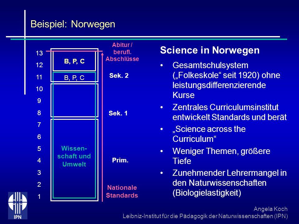 Angela Koch Leibniz-Institut für die Pädagogik der Naturwissenschaften (IPN) Beispiel: Norwegen Science in Norwegen Gesamtschulsystem (Folkeskole seit