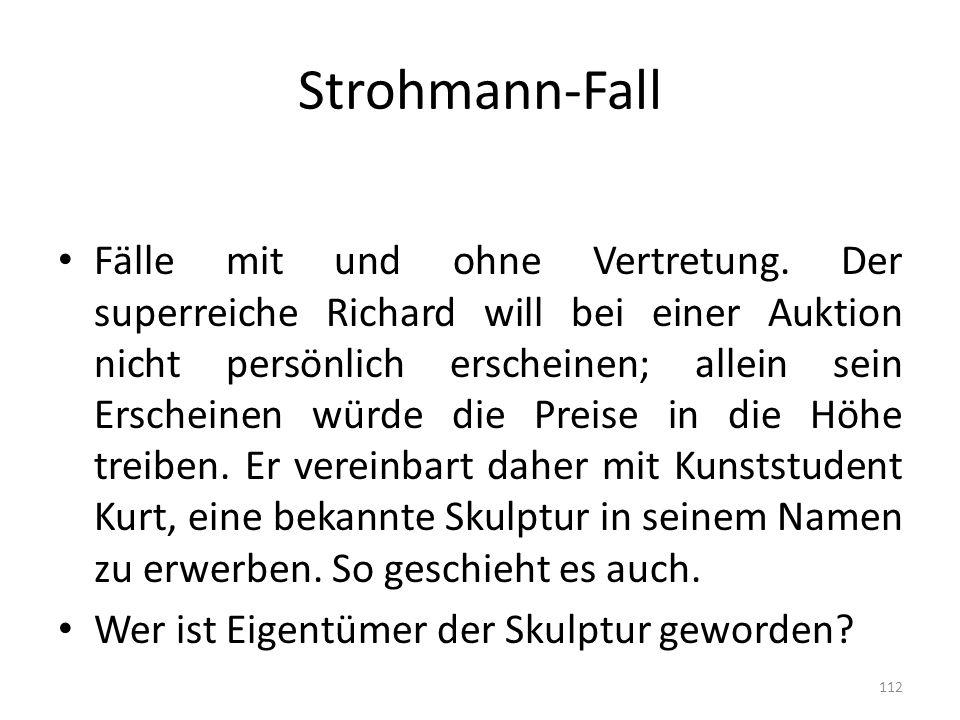 Strohmann-Fall Fälle mit und ohne Vertretung. Der superreiche Richard will bei einer Auktion nicht persönlich erscheinen; allein sein Erscheinen würde