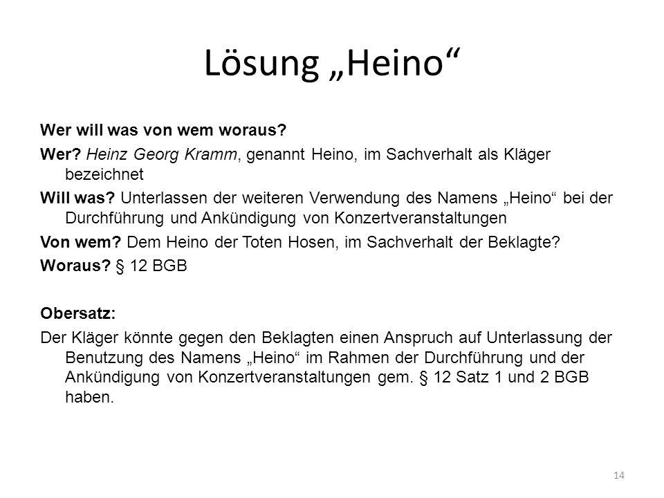 Lösung Heino Wer will was von wem woraus? Wer? Heinz Georg Kramm, genannt Heino, im Sachverhalt als Kläger bezeichnet Will was? Unterlassen der weiter