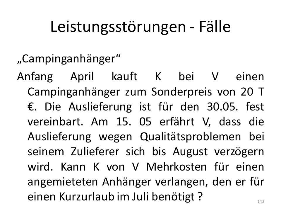 Leistungsstörungen - Fälle Campinganhänger Anfang April kauft K bei V einen Campinganhänger zum Sonderpreis von 20 T. Die Auslieferung ist für den 30.