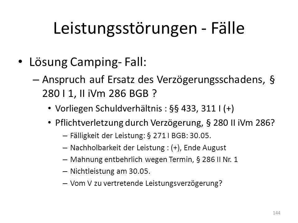 Leistungsstörungen - Fälle Lösung Camping- Fall: – Anspruch auf Ersatz des Verzögerungsschadens, § 280 I 1, II iVm 286 BGB ? Vorliegen Schuldverhältni