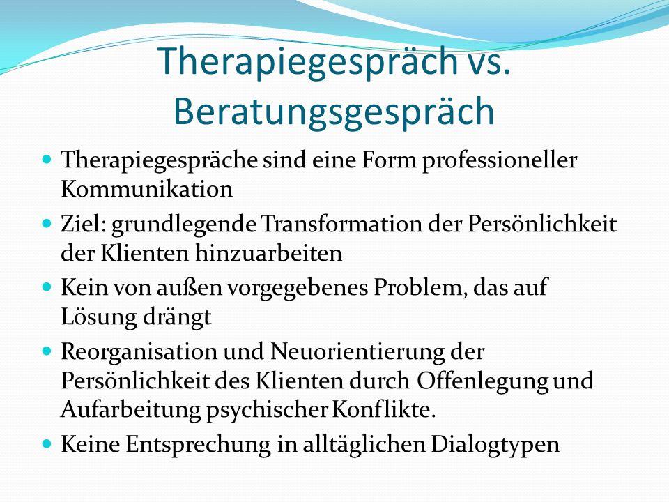 Therapiegespräch vs.