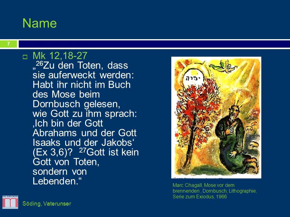 Name Mk 12,18-27 26 Zu den Toten, dass sie auferweckt werden: Habt ihr nicht im Buch des Mose beim Dornbusch gelesen, wie Gott zu ihm sprach: Ich bin
