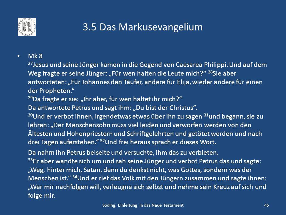 3.5 Das Markusevangelium Mk 8 27 Jesus und seine Jünger kamen in die Gegend von Caesarea Philippi. Und auf dem Weg fragte er seine Jünger: Für wen hal