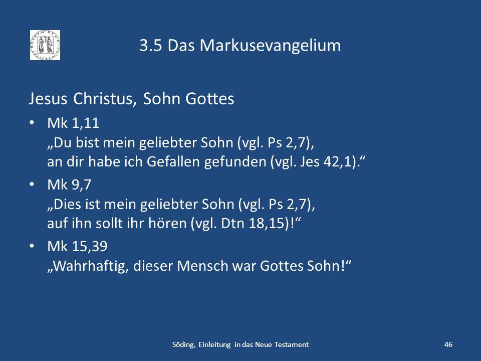 3.5 Das Markusevangelium Jesus Christus, Sohn Gottes Mk 1,11 Du bist mein geliebter Sohn (vgl. Ps 2,7), an dir habe ich Gefallen gefunden (vgl. Jes 42