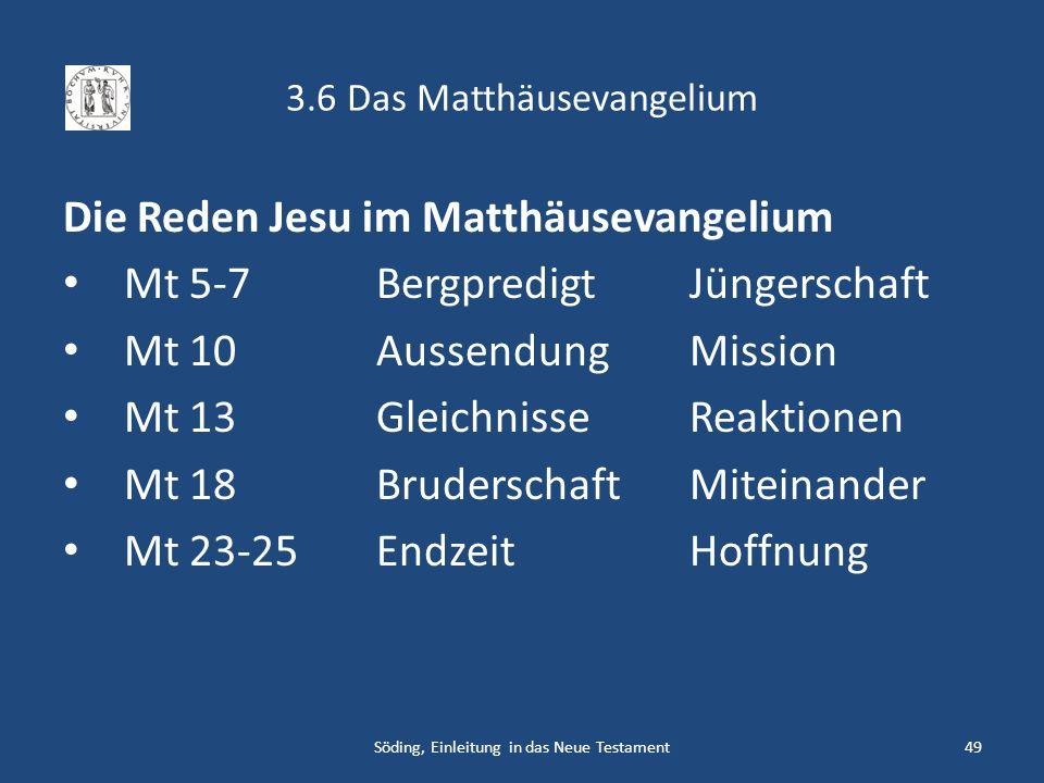 3.6 Das Matthäusevangelium Die Reden Jesu im Matthäusevangelium Mt 5-7BergpredigtJüngerschaft Mt 10AussendungMission Mt 13GleichnisseReaktionen Mt 18B
