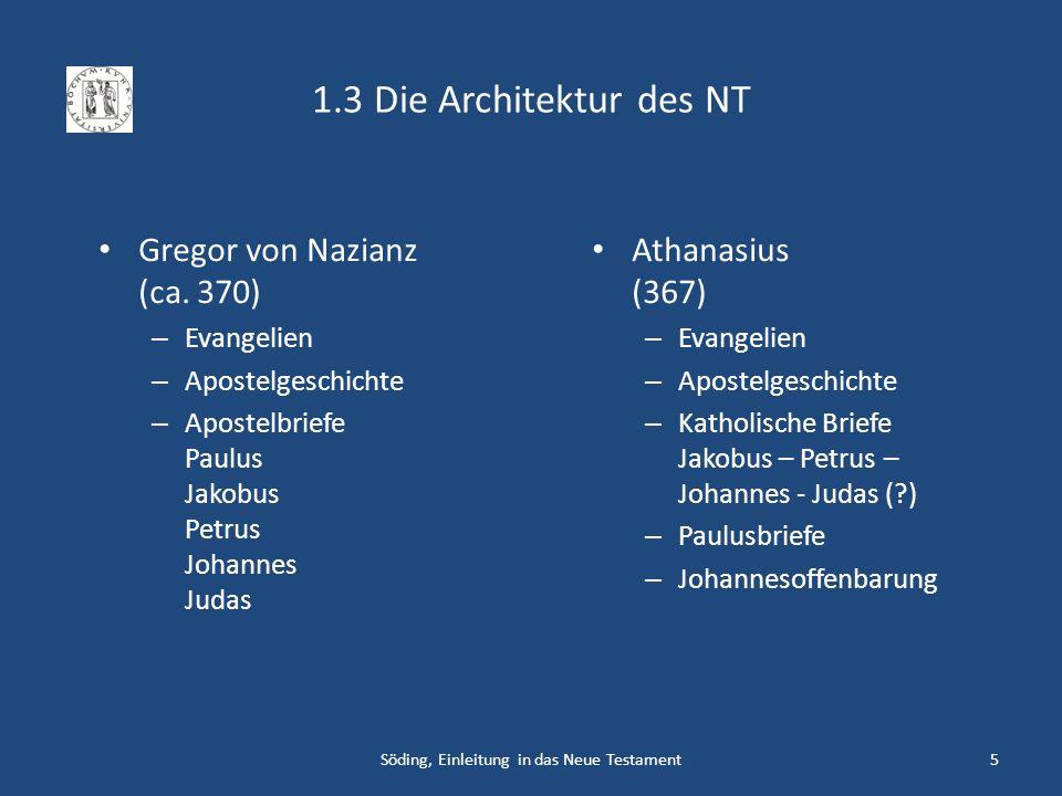 Söding, Einleitung in das Neue Testament5 1.3 Die Architektur des NT Gregor von Nazianz (ca. 370) – Evangelien – Apostelgeschichte – Apostelbriefe Pau