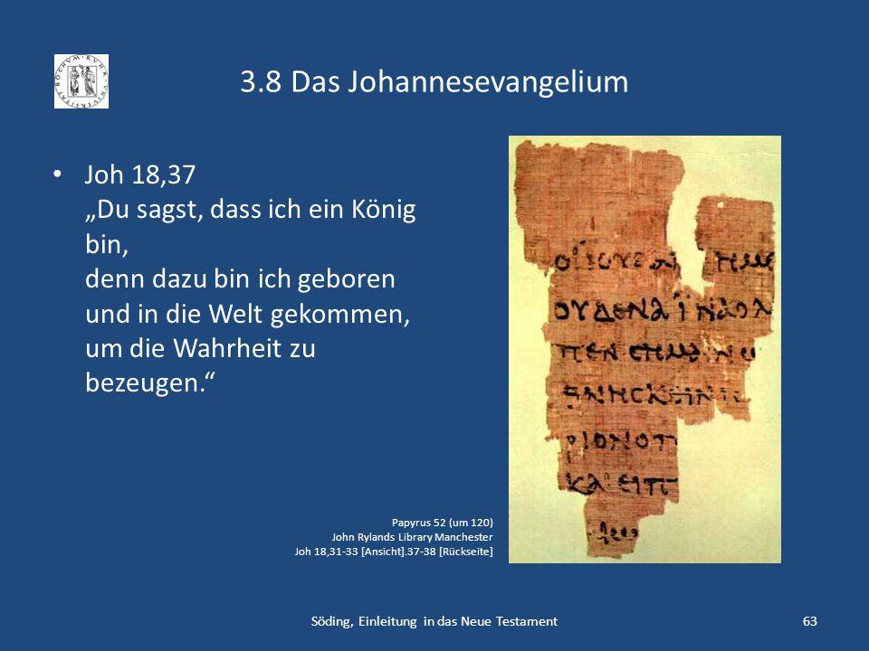 3.8 Das Johannesevangelium Joh 18,37 Du sagst, dass ich ein König bin, denn dazu bin ich geboren und in die Welt gekommen, um die Wahrheit zu bezeugen