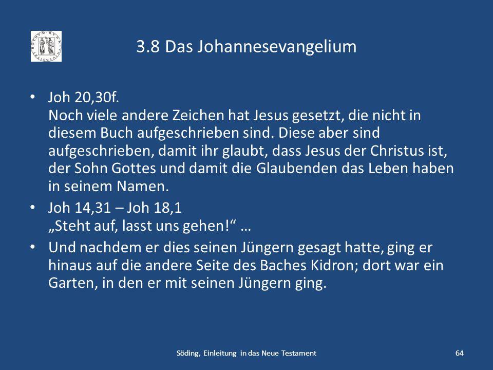 3.8 Das Johannesevangelium Joh 20,30f. Noch viele andere Zeichen hat Jesus gesetzt, die nicht in diesem Buch aufgeschrieben sind. Diese aber sind aufg