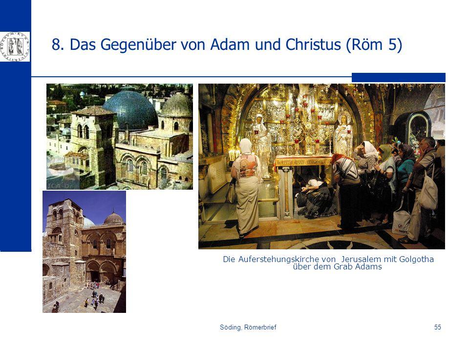 Söding, Römerbrief55 8. Das Gegenüber von Adam und Christus (Röm 5) Die Auferstehungskirche von Jerusalem mit Golgotha über dem Grab Adams