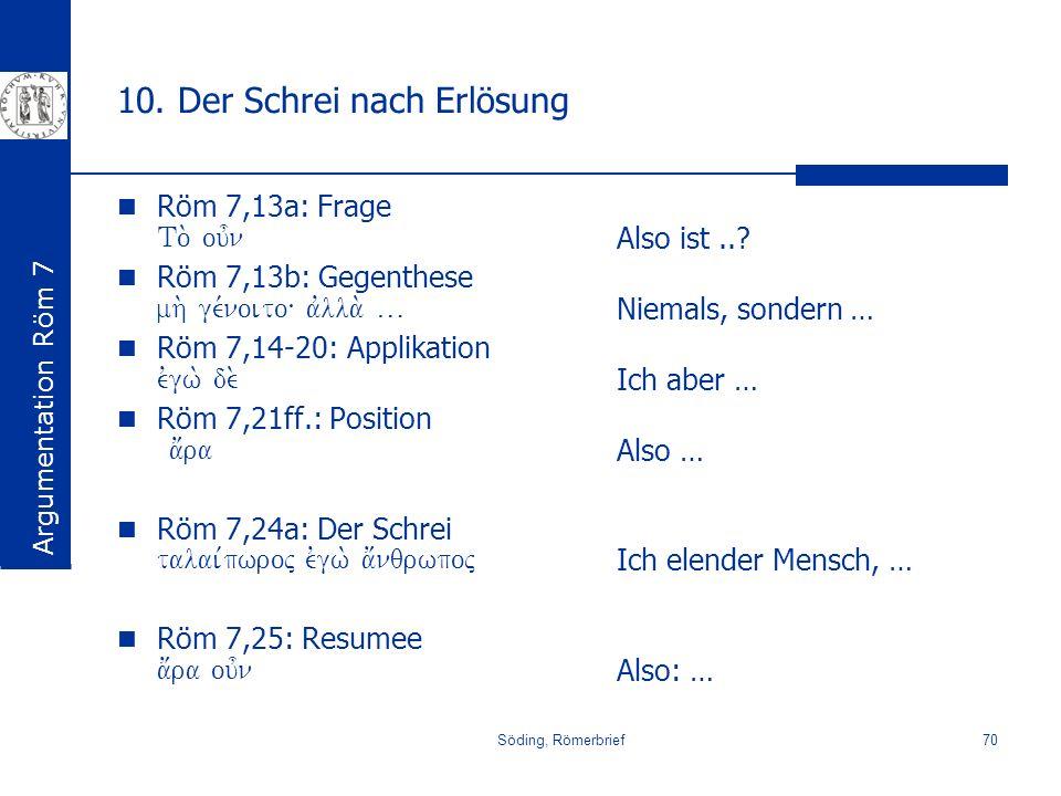 Söding, Römerbrief70 10. Der Schrei nach Erlösung Röm 7,13a: Frage To. ou=n Röm 7,13b: Gegenthese mh. ge,noito\ avlla. … Röm 7,14-20: Applikation evgw