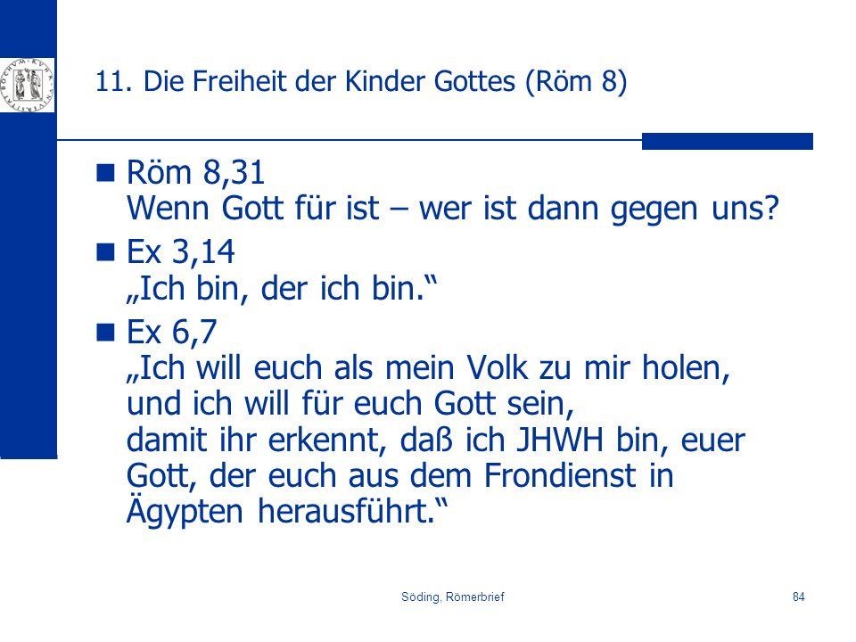 Söding, Römerbrief84 11. Die Freiheit der Kinder Gottes (Röm 8) Röm 8,31 Wenn Gott für ist – wer ist dann gegen uns? Ex 3,14 Ich bin, der ich bin. Ex