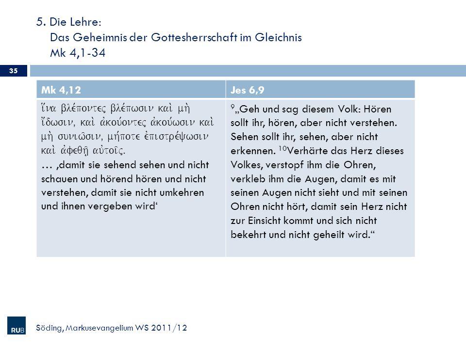 5. Die Lehre: Das Geheimnis der Gottesherrschaft im Gleichnis Mk 4,1-34 Söding, Markusevangelium WS 2011/12 35 Mk 4,12Jes 6,9 i[na ble,pontej ble,pwsi