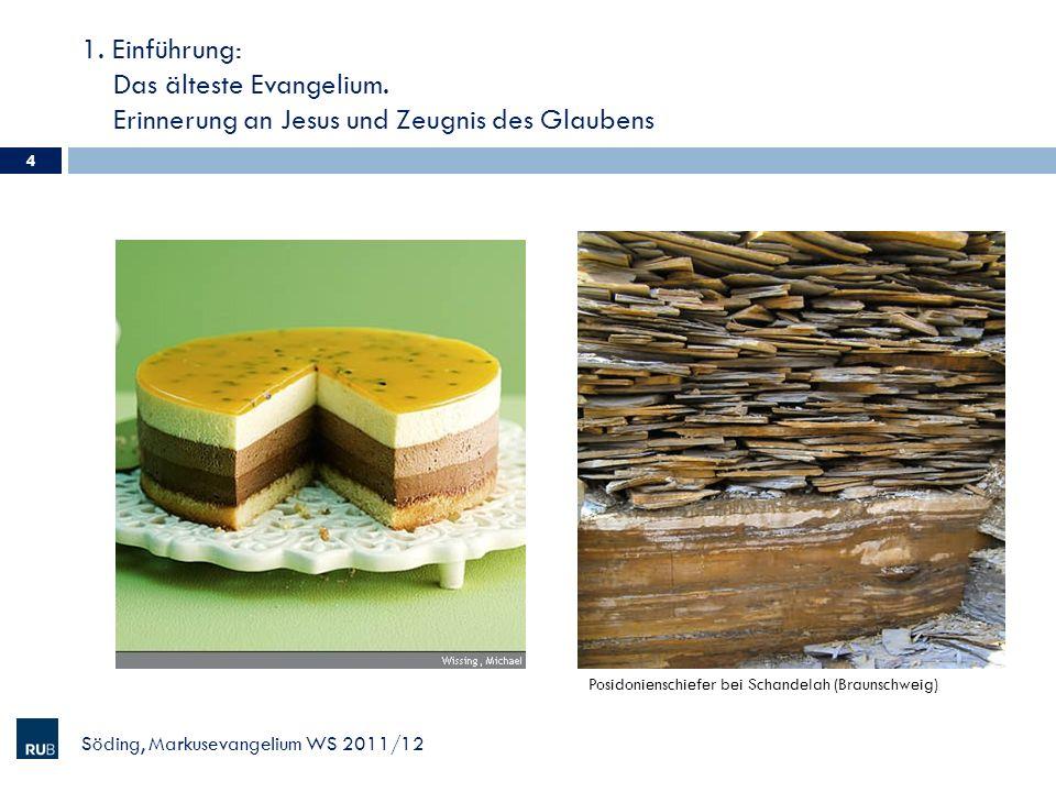 1. Einführung: Das älteste Evangelium. Erinnerung an Jesus und Zeugnis des Glaubens 4 Söding, Markusevangelium WS 2011/12 Posidonienschiefer bei Schan