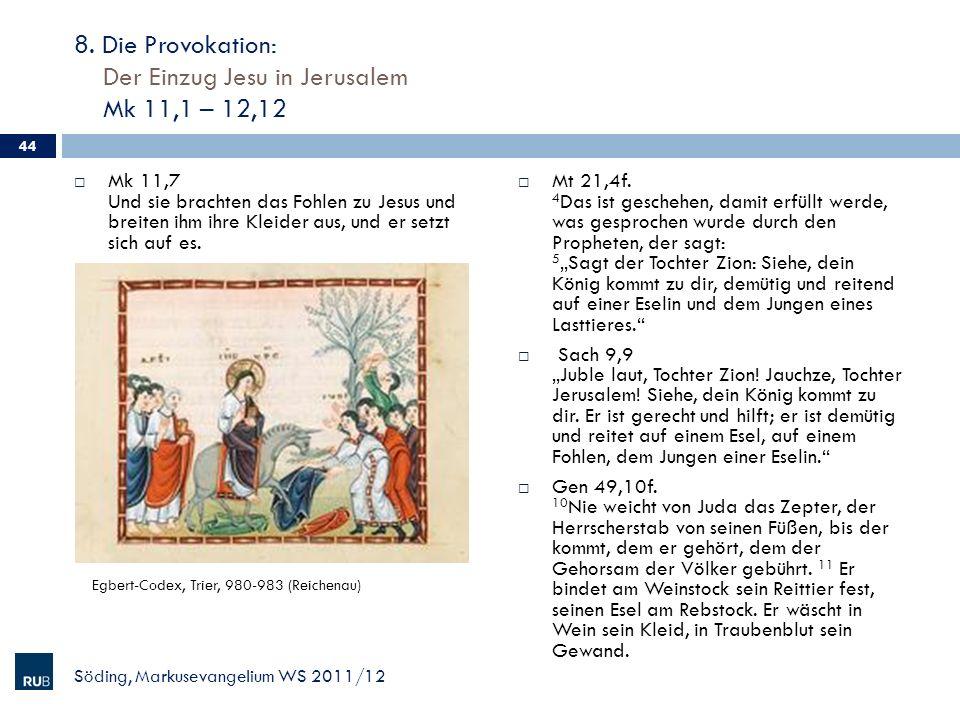 8. Die Provokation: Der Einzug Jesu in Jerusalem Mk 11,1 – 12,12 Mk 11,7 Und sie brachten das Fohlen zu Jesus und breiten ihm ihre Kleider aus, und er