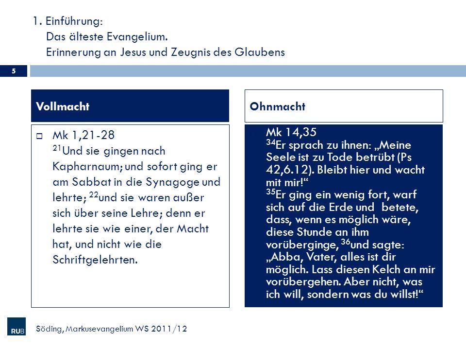 13.Rückblick: Konturen markinischer Christologie Mk 12,29ff.