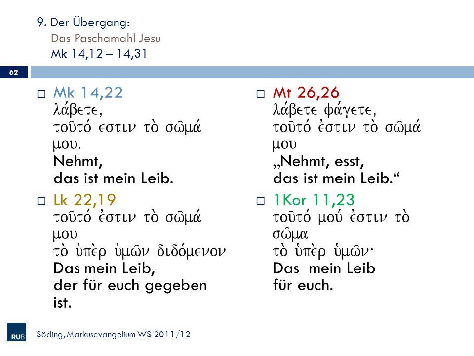 9. Der Übergang: Das Paschamahl Jesu Mk 14,12 – 14,31 Mk 14,22 la,bete( tou/to, estin to. sw/ma, mouÅ Nehmt, das ist mein Leib. Lk 22,19 tou/to, evsti