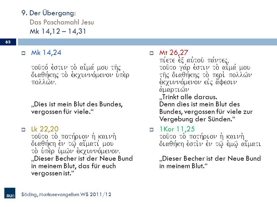 9. Der Übergang: Das Paschamahl Jesu Mk 14,12 – 14,31 Mk 14,24 tou/to, evstin to. ai-ma, mou th/j diaqh,khj to. evkcunno,menon u`pe.r pollw/nÅ Dies is
