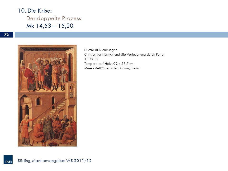 10. Die Krise: Der doppelte Prozess Mk 14,53 – 15,20 Söding, Markusevangelium WS 2011/12 72 Duccio di Buoninsegna Christus vor Hannas und die Verleugn