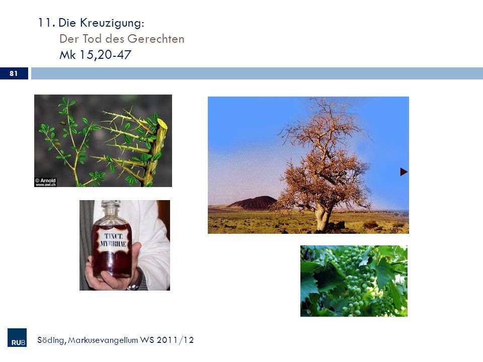 11. Die Kreuzigung: Der Tod des Gerechten Mk 15,20-47 Söding, Markusevangelium WS 2011/12 81