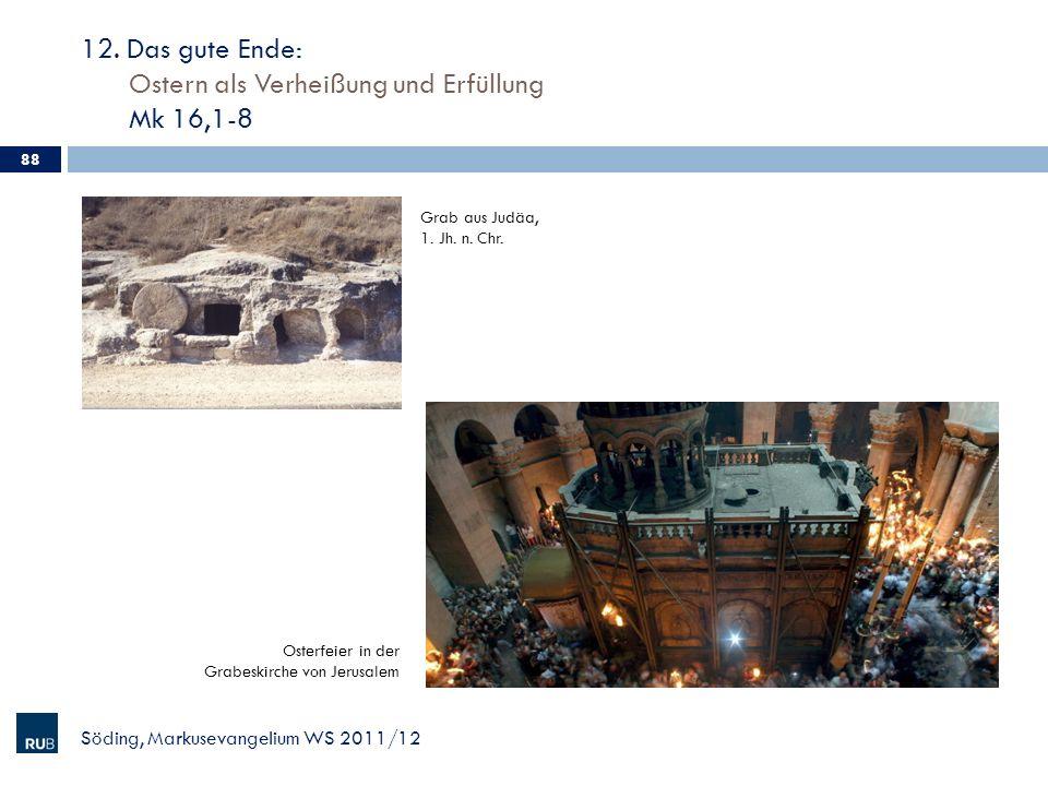 12. Das gute Ende: Ostern als Verheißung und Erfüllung Mk 16,1-8 Söding, Markusevangelium WS 2011/12 88 Grab aus Judäa, 1. Jh. n. Chr. Osterfeier in d