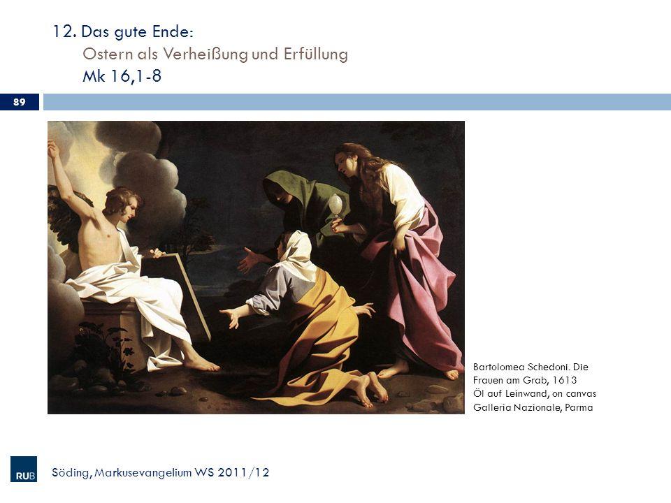 12. Das gute Ende: Ostern als Verheißung und Erfüllung Mk 16,1-8 Söding, Markusevangelium WS 2011/12 89 Bartolomea Schedoni. Die Frauen am Grab, 1613