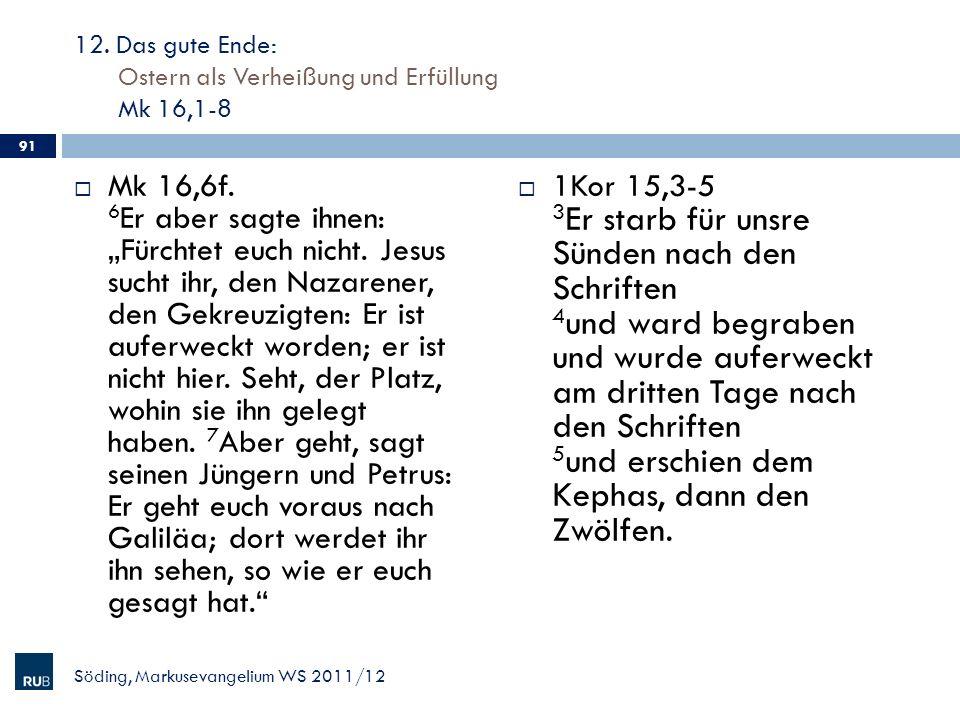 12. Das gute Ende: Ostern als Verheißung und Erfüllung Mk 16,1-8 Mk 16,6f. 6 Er aber sagte ihnen: Fürchtet euch nicht. Jesus sucht ihr, den Nazarener,