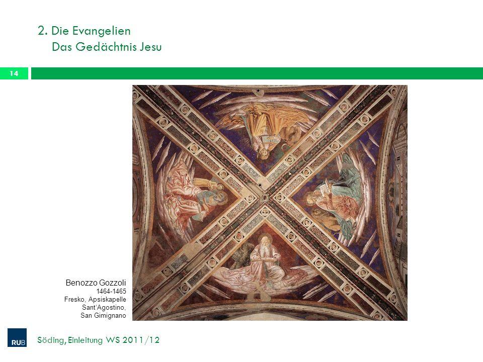 2. Die Evangelien Das Gedächtnis Jesu Söding, Einleitung WS 2011/12 14 Benozzo Gozzoli 1464-1465 Fresko, Apsiskapelle SantAgostino, San Gimignano