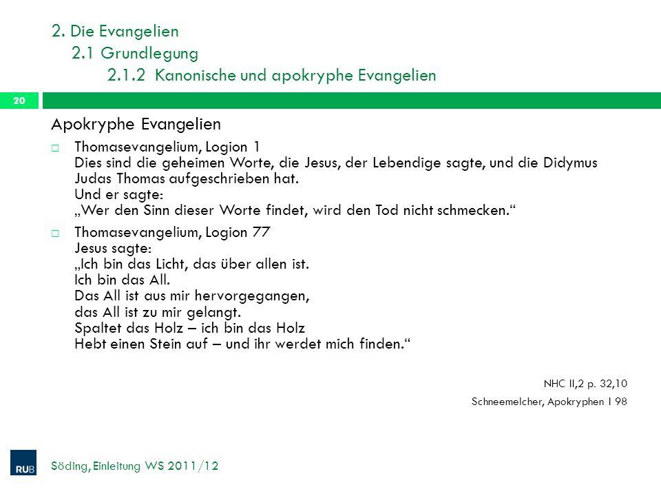 2. Die Evangelien 2.1 Grundlegung 2.1.2 Kanonische und apokryphe Evangelien Söding, Einleitung WS 2011/12 20 Apokryphe Evangelien Thomasevangelium, Lo