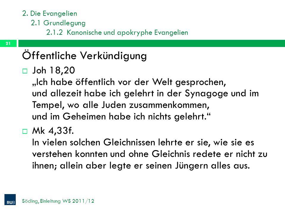 2. Die Evangelien 2.1 Grundlegung 2.1.2 Kanonische und apokryphe Evangelien Söding, Einleitung WS 2011/12 21 Öffentliche Verkündigung Joh 18,20 Ich ha