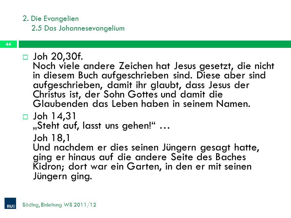 2.Die Evangelien 2.5 Das Johannesevangelium Söding, Einleitung WS 2011/12 44 Joh 20,30f.