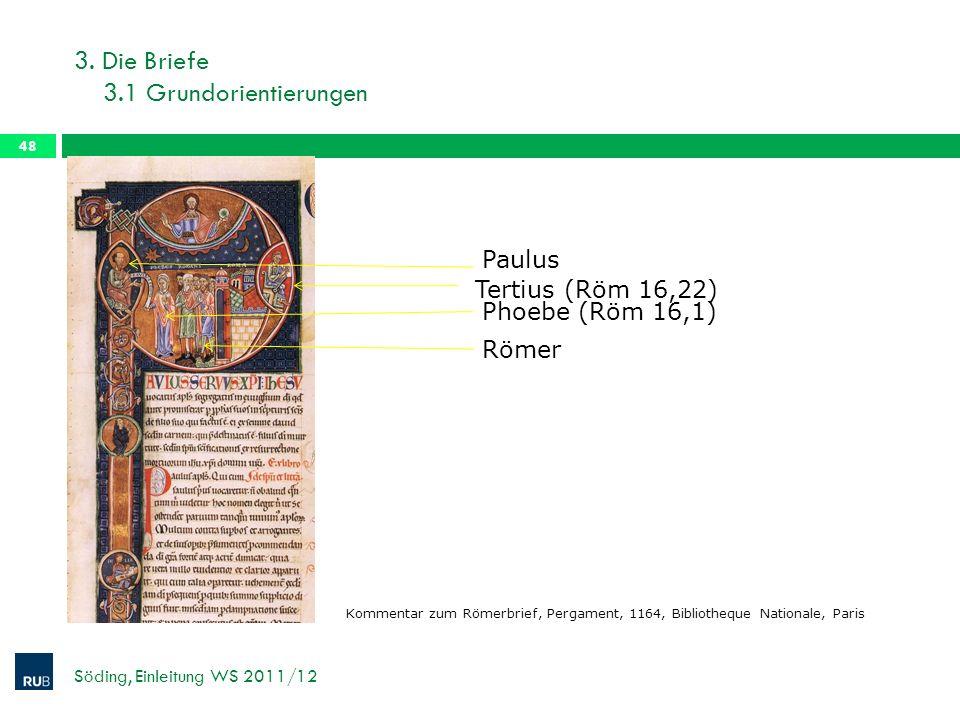 3. Die Briefe 3.1 Grundorientierungen Söding, Einleitung WS 2011/12 48 Paulus Römer Phoebe (Röm 16,1) Tertius (Röm 16,22) Kommentar zum Römerbrief, Pe