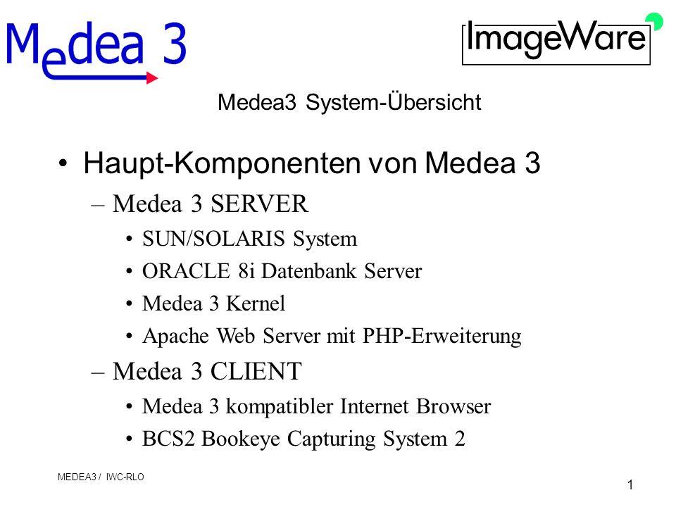1 MEDEA3 / IWC-RLO Medea3 System-Übersicht Haupt-Komponenten von Medea 3 –Medea 3 SERVER SUN/SOLARIS System ORACLE 8i Datenbank Server Medea 3 Kernel Apache Web Server mit PHP-Erweiterung –Medea 3 CLIENT Medea 3 kompatibler Internet Browser BCS2 Bookeye Capturing System 2